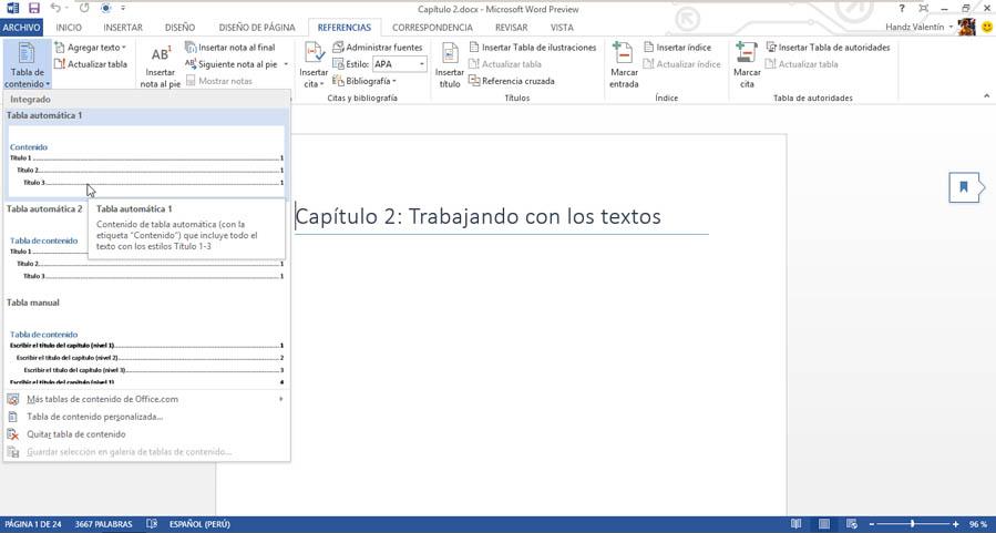 crear tabla contenido word mac